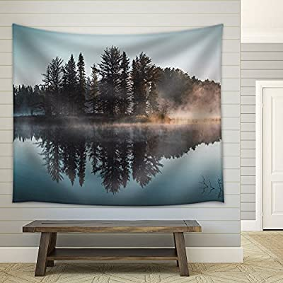 Trees with Reflection on a Perfectly Smooth Lake Fabric Wall, Top Quality Design, Elegant Expertise