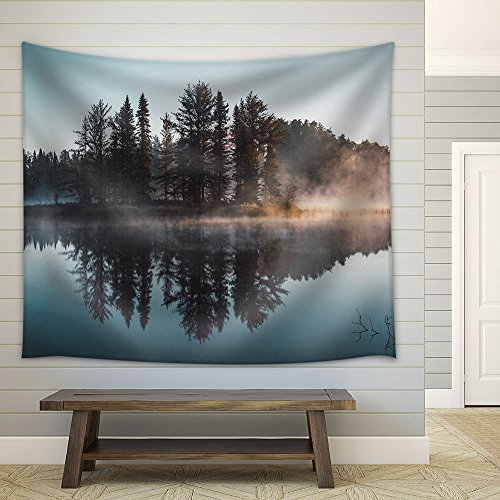 Trees with Reflection on a Perfectly Smooth Lake Fabric Wall