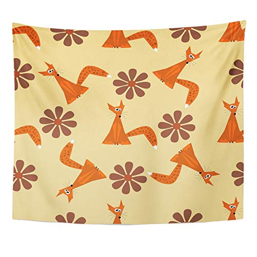 Emvency Tapestry Wall Hanging Polyester Fabric Orange Abstract Foxes Red Animal Animated Baby for Bedroom Living Bedspread Room Dorm Decorations 50x60 Inches -