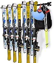 Ski Wall Storage Rack, Sunix Ski and Snowboard Storage Rack for Home and Garage Ski Wall Mount Hold up 10 Pair