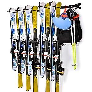 Support de Ski Mural pour Garage, Porte Ski Support de Rangement pour Ski, Montage jusqu'à 10 Paires (2PCS)