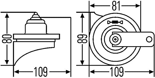 Avisador ac/ústico B36-48V HELLA 3BA 002 768-771 Bocina Color de carcasa: gris Conexi/ón de enchufe plano sonido grave A - Rango de frecuencia: 335Hz 116dB