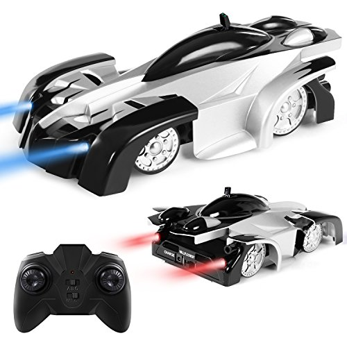 Remote Control Car Kid Toys for Boys Girls Birthday Present with Mini Control LED Light, Dual Mode 360° Rotating Stunt Car (Black-White Set)