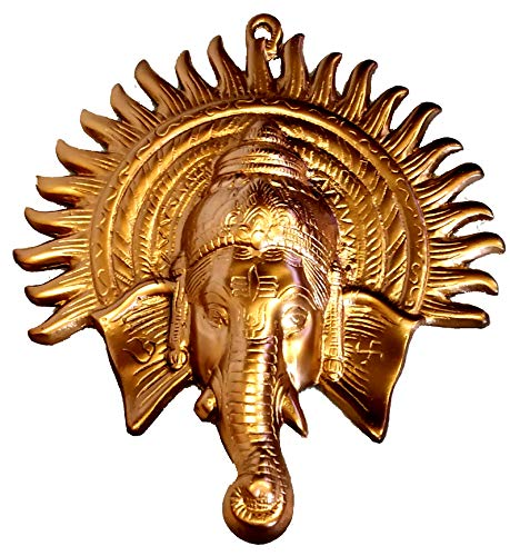 Akanksha Arts Iron Ganesha Wall Hanging (29 cm x 27 cm, Bronze), Golden
