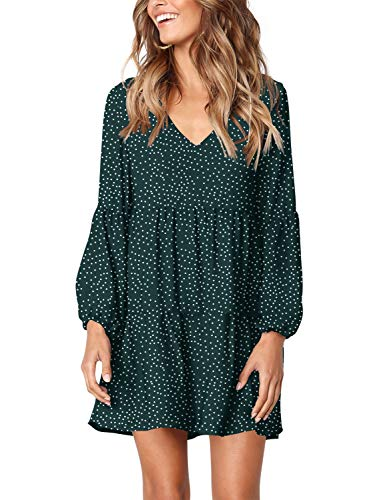 (Amoretu Women's V Neck Bishop Sleeves Soft Loose Tunic Dress Polka Dot Green)