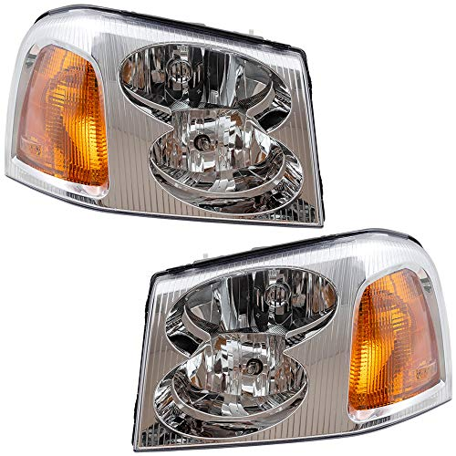 BROCK Driver and Passenger Headlights Headlamps Replacement for GMC SUV 15866071 15866070