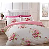 Kate Cotton Flannelette King Quilt Duvet Cover and 2 Pillowcases Cream and Pink Floral Bedding Bed Set, Cream