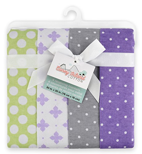 Coney Island Flannel Receiving Blankets For Babies| 4 Pack| 100% Superior Cotton Burp Cloths| Soft, Reusable & Durable| Modern, Cute, Unisex Design For Both Boys & Girls Baby Products