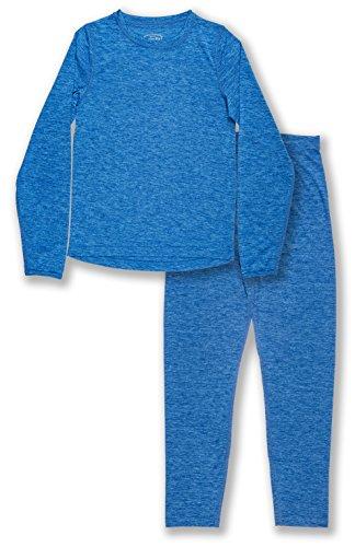 Trimfit Boys Space Dye Long-Sleeve w/Thumbholes Thermal Set Blue Large (10-12) ...