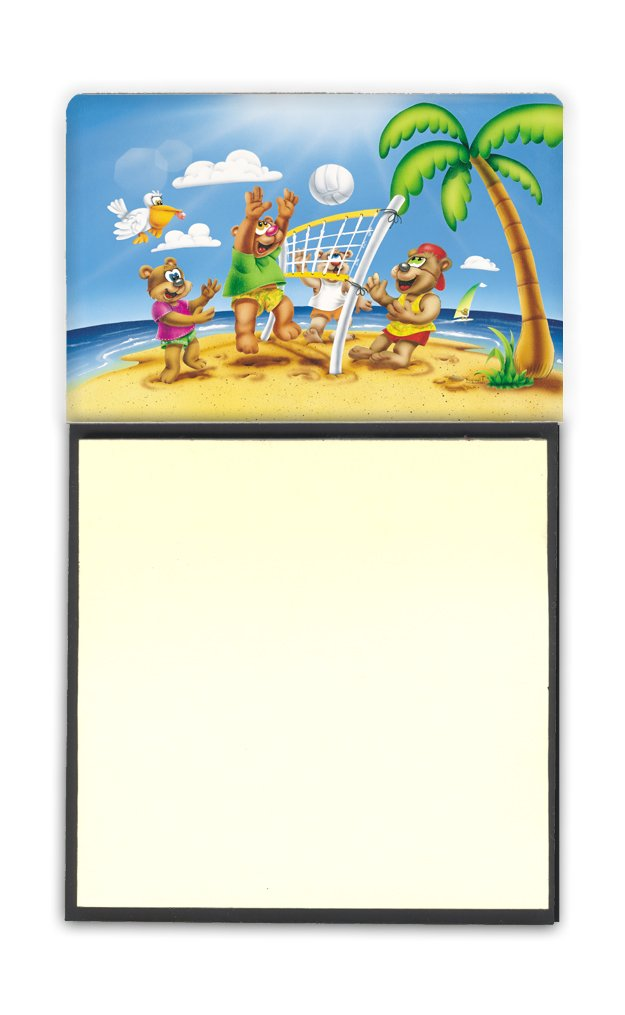 APH0373SN Carolines Treasures Bears Playing Volleyball Sticky Note Holder Multicolor