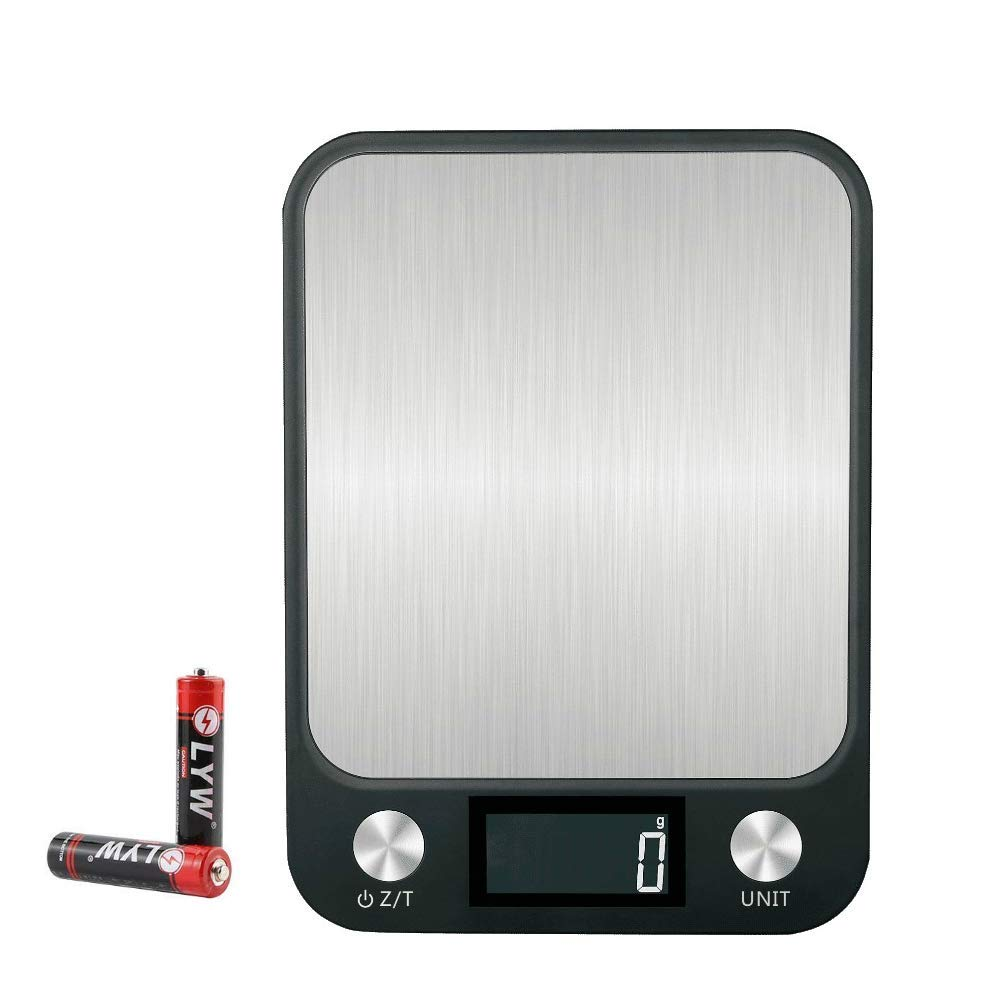 Digital Kitchen Scales Multifunction Food Weighing Scales 10KG 22LB Waterproof Stainless Steel Electronic Scale Precision Measuring with Large Back-Lit LCD Display,Easy to Clean,Black Kitchen Scale Factory