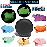 8pcs Cable Bites Animals Protector 2 Animal Cable Protectors Glow in The Dark and 6 Normal Cable Bite Savers for iPhone iPad MAC Charging Cables in A Pro Case Cute Cell Phone Cords Saver Accessories