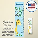 321Done Personalized Hanging Growth Chart, Giraffe and Tree, Kids Height Ruler, Premium Vinyl Nursery Wall Decor Jungle Safari Blue