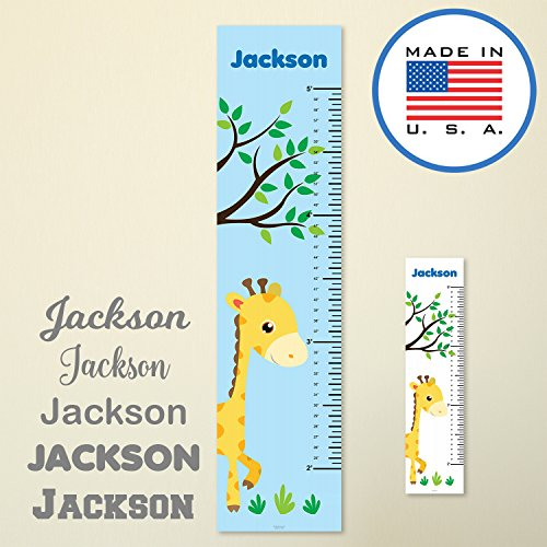 321Done Personalized Hanging Growth Chart, Giraffe and Tree, Kids Height Ruler, Premium Vinyl Nursery Wall Decor Jungle Safari Blue (Baby Safari Wall Hanging)