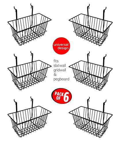 Only Hangers Small Wire Storage Baskets for Gridwall, Slatwall and Pegboard - Black Finish - Dimensions: 12