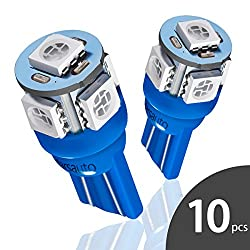 Marsauto 10pcs Blue T10 194 168 Bright Instrument Panel Dashboard LED Light Bulbs No-polarity 2825 5SMD Dome Map License Plate Lights Lamp 12V (Pack of 10)
