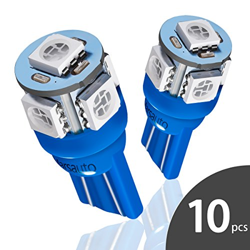 Marsauto Blue T10 194 168 Bright Instrument Panel Dashboard LED Light Bulbs No-polarity 2825 5SMD Dome Map License Plate Lights Lamp 12V (Pack of 10)