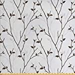 Lunarable Leaf Fabric by The Yard, Branches in The Fall Trees Stem Twig with Last Few Leaves Minimalistic Design Art, Decorative Fabric for Upholstery and Home Accents, 1 Yard, Grey Brown
