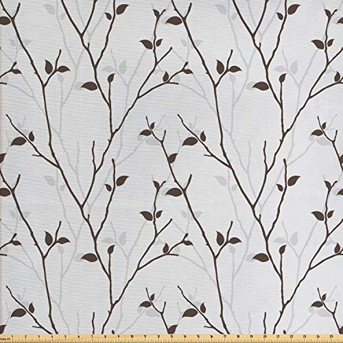 Lunarable Leaf Fabric by The Yard, Branches in The Fall Trees Stem Twig with Last Few Leaves Minimalistic Design Art, Decorative Fabric for Upholstery and Home Accents, 3 Yards, Pale Grey Brown
