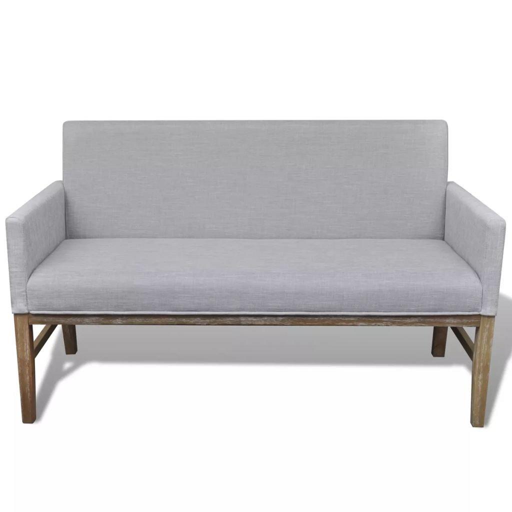 Vislone Sofa Bank Einfach Sitzbank mit Armlehn, Stoffpolsterung Gummibaumholz Küchensofa Wohnzimmer Sofa Bank Hellgrau