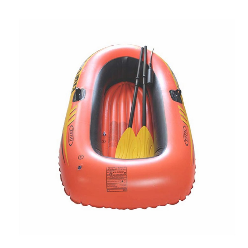 Ix Emergency Inflatable Boat, Vinyl Material, Orange Color, Oars And Air Pump Included, Ideal For 2 Adults, Repair Patch, Comfortable And Safe & E-Book Home Decor