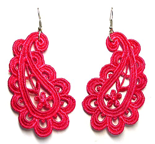Bijoux De Ja Prailey Vintage Shocking Pink Lace Trim Dangle Earrings 3.0 Inches Drop (Shocking Pink Anime)