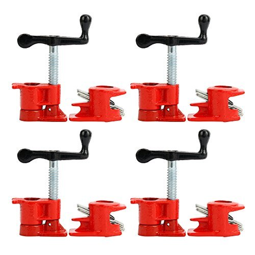Yaetek (4 Pack) 3/4'' Wood Gluing Pipe Clamp Set Heavy Duty PRO Woodworking Cast Iron