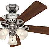 Hunter Fan 44″ Brushed Nickel Ceiling Fan with Swirled Marble Glass Light Kit, 5 Blade (Certified Refurbished) For Sale