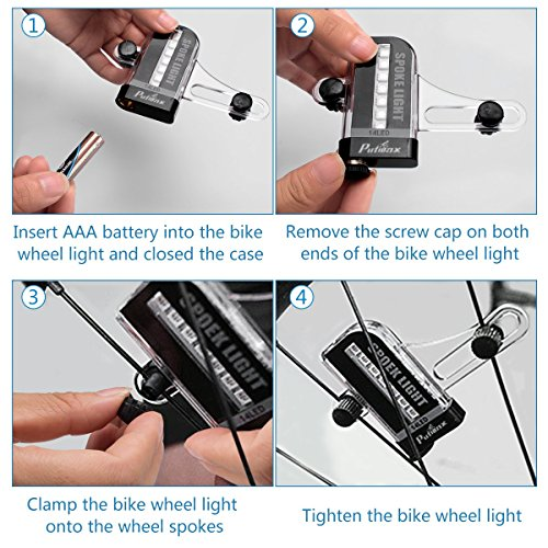 Putmax with Bike Wheel Lights - Bike Lights with Motion and Light Sensor-Safety Tire Light for Kids Adult Riding at Night - 2ct Bike Spoke Lights by Putmax (Image #2)