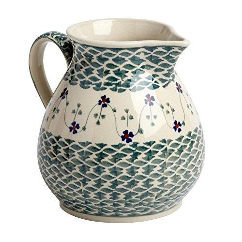 Polish Pottery Green Basketweave Water Drink Pitcher, Ceramika Wiza Boleslawiec, 6