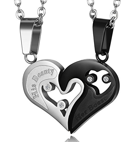 - LOYALLOOK 2pcs Stainless Steel Mens Womens Couple Necklace Pendant His Beauty Her Beast Matching Necklace