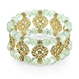 1928 Jewelry Gold-Tone Giligree and Peridot Color Cat's Eye Bead Bracelet
