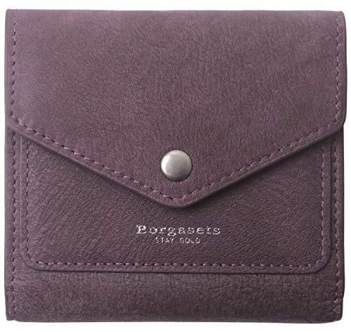 Borgasets Women's RFID Blocking Small Compact Bifold Leather Pocket Wallet Ladies Mini Purse (Nubuck Purple) (Wallet Money Women)