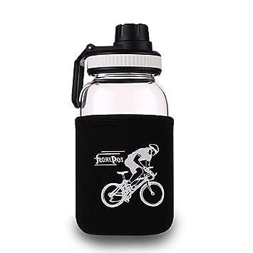 Umiwe Botella de Agua de Cristal de los Deportes Copa de Vidrio de Borosilicato Botella de
