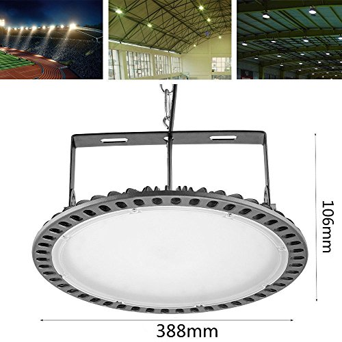 Viugreum 300W UFO LED High Bay Lighting,Ultra Slim,30000LM Daylight White(6000-6500K),Commercial Industrial Chandelier,for Garage,Factory,Workshop,Gymnasium,Basement Parking,Warehouse,Ship from USA by Viugreum (Image #1)