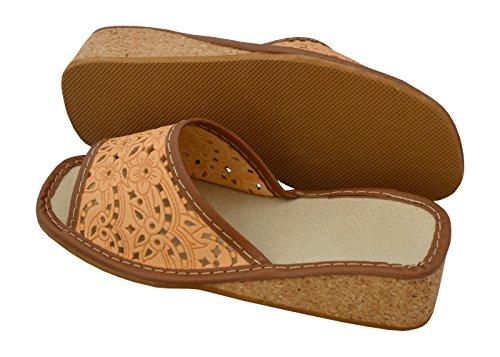 Femmes Caoutchouc 36 avec Travail BeComfy Pantoufles Véritable Beige en Cuir 41 Modèle Pratique Chaussures de Wedge Pantoufles Liège Wedge Cork 3 Taille qwavxn7Iw