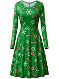 Best Dress Women Products - KIRA Green Christmas Dress, Womens Candy Cane Print Review
