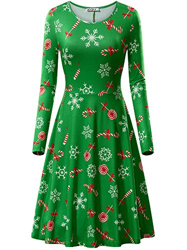 KIRA Casual Christmas Dress, Womens Christmas Pattern Candy Cane Print A-Line Midi Dress Green&Candy X-Large for $<!--$18.88-->