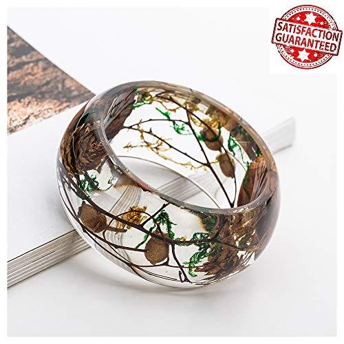 IDesign Nature Dry Flower Resin Plastic Bracelet Bangle Wedding Bracelet Acrylic Bracelet for Women Girls in Spring Summer Bracelet for Sandbeach Dress (Brown)