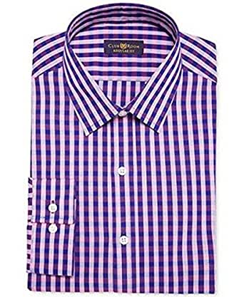 Club room estate cranberry purple gingham dress shirt men for Size 15 dress shirt