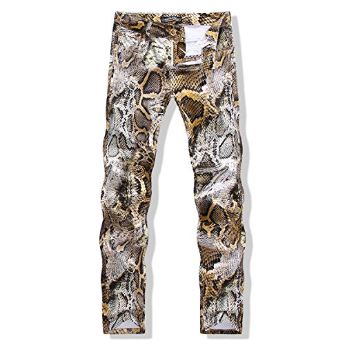 Hot New Men Flower Pants Stretch Pants of The Cultivate One's Morality Men's Club Foot Snakeskin Print Pants (33, Graph Coloring) ()