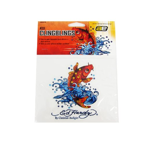 - Officially Licensed Ed Hardy Crystal Accent Decal Sticker - Koi