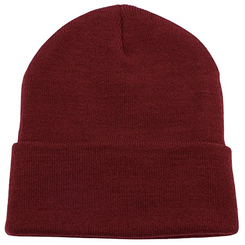 Top Level Unisex Cuffed Plain Skull Beanie Toboggan Knit Hat/Cap, Burgundy ()