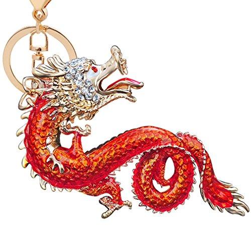 Aibearty Zodiac Dragon Crystal Keychain Alloy Key Ring Bag Pendant Car Key for Women and Men