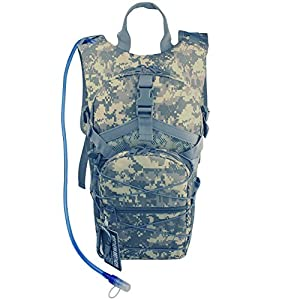 Hydration Backpack Tactical Rucksack Run-pack with 3 Liter/100 oz Reservoirs Water Bladder Bag for Hiking, Running, Camping, Climbing, Cycling, Walking, Hunting (ACU Camouflage)