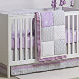 Purple and Grey Woodland and Geometric 3 Piece Crib Bedding by The Peanut Shell Reviews