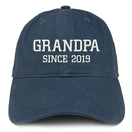 (TOP LEVEL APPAREL Grandpa Since 2019 Embroidered Low Profile Deluxe Cotton Cap Navy)