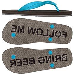FlipSidez Mens Follow Me Bring Beer Sand Imprint Flip Flops