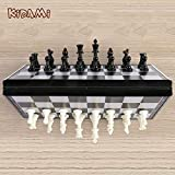 KIDAMI Magnetic Folding Travel Chess Set 11.2×11.2 Inches, Lightweight & Portable with Inner Slots for Pieces Storage