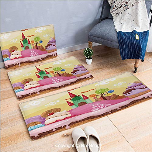 3 Piece Anti-Skid mat for Bathroom Rug Dining Room Home Bedroom,Cartoon Decor,Kids Sweet Castle Landscape with Donuts Muffins Ice Cream Nursery Image,Sand Brown Pink,16x24/18x53/20x59 inch
